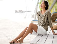 linen-blend cutwork pullover, perfect tank, easy linen flat-front walking shorts & cocobelle® embellished thongs