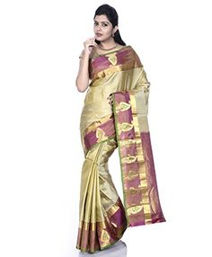 """Mandakini - Indian Women's Kanchipuram - Handloom - Pure Silk Saree (Golden-Maroon) - Winter Collection - Mandakini Kanchipuram (Kanjivaram) Pure Silk Sarees""""Elegance of a woman and charm of her smile, nothing can top that, till she puts on her mother's saree (sari) for the first time.""""Mandakini brings you wide range of Kanchipuram Handloom Pure Silk Saree with Blouse Piece. These Sarees (saris) have..."""