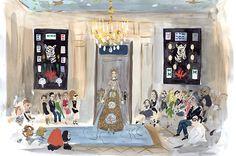 Valentino Paris show at the Hôtel Salomon de Rothschild - illustrated by Konstantin Kakanias for T Magazine Fashion Illustration Sketches, Graphic Design Illustration, Watercolor Illustration, Fashion Art, Fashion Beauty, Paris Fashion, T Magazine, Its Nice That, Little Fashion