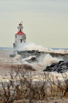"*""Lighthouse In The Storm"" - Lake Superior"