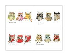 all 12 owls  4 owl trios giclee prints by 29blackstreet on Etsy, $68.00