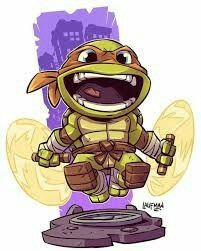 Chibi Michelangelo by Derek laufman Cartoon Kunst, Comic Kunst, Cartoon Art, Cartoon Characters, Comic Art, Fictional Characters, Teenage Mutant Ninja Turtles, Ninja Turtles Art, Teenage Turtles