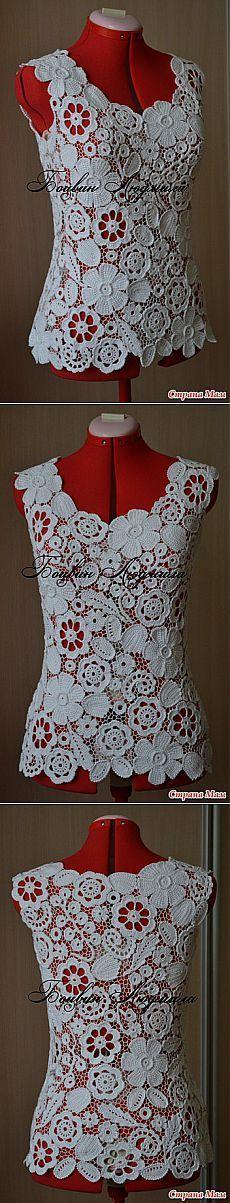 Top gancho & quot; buquê de flores brancas & quot;: Grupo Diário & quot; Knitting & quot;  - Mãe País
