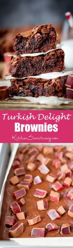 Turkish Delight Brownies - squidgy chocolate brownies with a crisp…