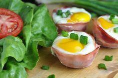 Zapečené vajíčko v šunke so špenátom a syrom Tofu, Matcha, Mozzarella, Sushi, Low Carb, Vegetables, Breakfast, Ethnic Recipes, Fitness