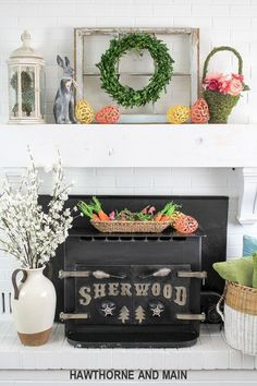 Spring Refresh with Easter Accents. This mantel is the perfect mix of spring and easter. I love pops of color and the pretty styling!