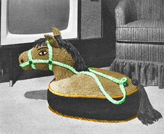 Vintage Horse Toy TV Pillow Riding Sitting Crochet door dianeh5091, $3.99