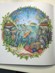 "Colored by Marnie Nunes Johanna Basford Enchanted Forest ""duck pond"" I colored this following a tutorial from Peta Hewitt."