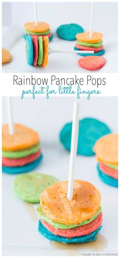 Rainbow Pancake Pops -perfect for little fingers!