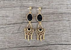 Items similar to Black and Gold Chandelier Earrings Gold Chandelier Earrings, Boho Earrings, Drop Earrings, Handmade Jewellery, Earrings Handmade, Unique Jewelry, Handmade Gifts, Black Enamel, Unique Colors