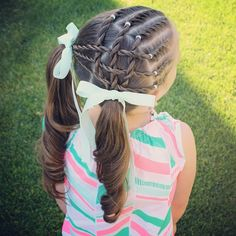 """Hooray! It's our last day of school!  B has sports day so we needed her hair up and out of the way so we came up with this.  It's 6 twists on the right side of her head with cross over twists on the side into two curly ponytails"" Photo taken by @sheerbraidedbliss on Instagram, pinned via the InstaPin iOS App! http://www.instapinapp.com (06/26/2015)"