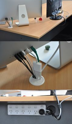 Simple Cord Management Solutions That Can Make Life Easier Desk cable management diy Home Office Setup, Office Table, Home Office Design, Office Designs, Tiny Office, Design Desk, Office Chic, Cord Management, Gaming Desk Cable Management