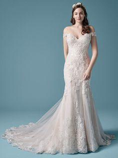 Jayla Marie| Trumpet wedding dress featuring sequined lace motifs. #wedding #weddingdress #weddingdresses #bridal #bridalgown #bride #weddingplanning #weddingfashion #maggiesottero