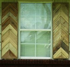 "Exterior Chevron Style Shutters from repurposed pallet wood. Priced as a pair - max size per shutter is 16""W X 60""H. Priced as unfinished."