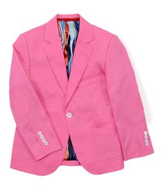 Elie Balleh Pink Elbow Patch Blazer - Boys by Elie Balleh #zulily #zulilyfinds
