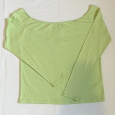 Pastel green off-shoulder long sleeve top Brand new with tags.95% Cotton & 5% Spandex.Not from listed brand.No Trades Nasty Gal Tops Tees - Long Sleeve
