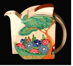 """FRAGRANCE Stamford Teapot in the Fragrance pattern. c1935. Size 6 inches tall.  Signed """"Bizarre by Clarice Cliff""""."""