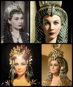 Cleopatra Theatrical Headdress Gold Lame with Pearls Egyptian Headpiece Crown Hair Accessory