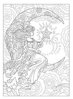 Creative Haven Beautiful Angels Coloring Book (Adult Coloring) Angel Coloring Pages, Adult Coloring Book Pages, Printable Adult Coloring Pages, Cute Coloring Pages, Coloring Pages To Print, Coloring Books, Free Coloring, Coloring Sheets, Mermaid Coloring