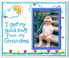 "I Get My Good Looks from My Grandma - Picture Frame Gift. Frame measures 8.25"" wide x 7"" tall and holds 3.5"" x 5"" photo. Frame body is made from polyresin. Graphic design is printed on textured cardstock. Frame has a built-in easel and slot for picture hook. Made 100% in USA."
