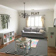 Farmhouse Playroom, Shiplap, DIY, Dropcloth Curtains, PLAY