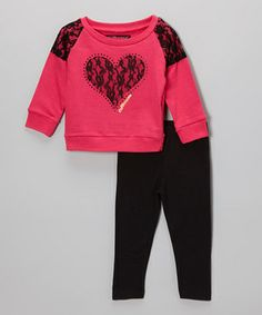 Any little lady can sparkle in this sassy ensemble. The snuggly French terry top combines with stretchy leggings to make an instant rockstar-worthy outfit for the girl on the go.