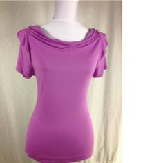 Tahari Purple Drape Neck Ruffled Top - $18