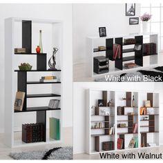 Multi-tiered Modern Display Bookshelf | Overstock.com Shopping - #Studio54 - White w/ Walnut