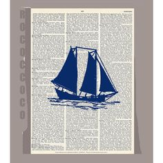 Sail Boat SILHOUETTE3 ORIGINAL ARTWORK  printed on by RococcoCo, $9.95