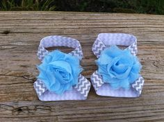 Gray and White Chevron with Blue Shabby Flower Baby Barefoot Sandals on Etsy, $6.00