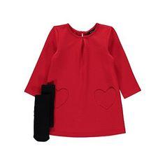 Heart Pocket Detail Dress and Tights Set | Kids | George at ASDA