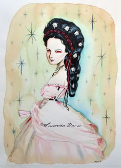 Empress Sisi (Sweet Gothic Nothings series) by Susanna Varis mixed media (water colour, coffee, water colour pencils, coloured pencils) 2016 Size: A3 Price: 3200 SEK www.susannavaris.com