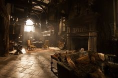 "Thomas Sanders' production design for ""Crimson Peak"". Thomas Sanders, Grand Hall, Crimson Peak, Gothic Architecture, Architecture Interiors, Haunted Mansion, Victorian Gothic, Architectural Digest, Set Design"