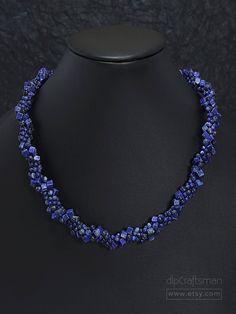 Statement Lapis Lazuli Necklace, Lapis Lazuli Twist Necklace, Kumihimo Spiral Necklace