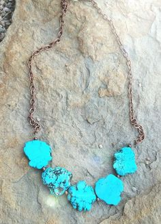 Cowgirl Bling TURQUOISE chunky  SLAB NECKLACE COUTURE  GLAM Copper chain #DanaiPaige #NECKLACE