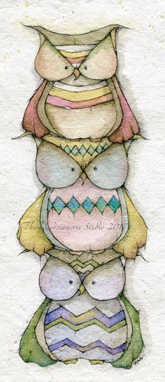 Stacked Owl series Watercolor and pencil on handmade paper #thedaydreamerie