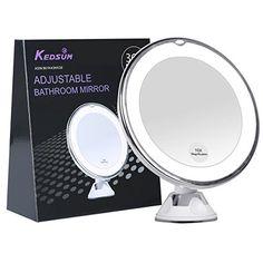 kedsum 10x Loupe avec LED de voyage maquillage Miroir, meuble de salle de bain Miroir avec ventouse robuste, couleur lumière du jour…