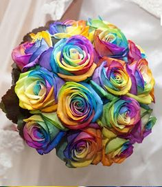 Real roses bouquet, Peter Van de Werken, colourfull bouquet, rainbow bouquet