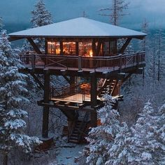 A house built with modern architecture in two stories. Cheerful lights blazes within as a contrast to the snowy landscape. A house built with modern architecture in two stories. Cheerful lights blazes within as a contrast to the snowy landscape. Cultural Architecture, Sustainable Architecture, Architecture Design, Future House, My House, Happy House, Tiny House Cabin, Story House, Cool Tree Houses