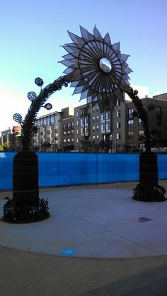 Gigantic, Metallic, Mutated, Sunflower, Gate. #urban #solelydescriptive #yerp