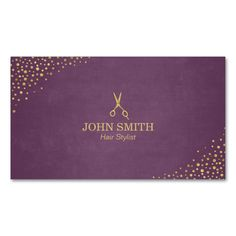 Hair Stylist Purple Gold Dots Scissor Business Card Carte De VisiteCarte