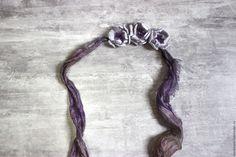 """Купить Валяное украшение-чокер """"Фиалки"""" - фиолетовый, сиреневый, нежно сиреневый, пастельные тона"""