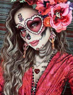 Halloween Makeup Sugar Skull, Sugar Skull Costume, Amazing Halloween Makeup, Sugar Skull Makeup, Skeleton Makeup, Costume Halloween, Halloween Looks, Halloween Kostüm, Women Halloween