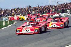 Ferrari 312's upfront... seems like it is Regazzoni, Ickx & Peterson driving...