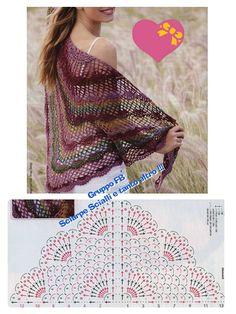Exceptional Stitches Make a Crochet Hat Ideas. Extraordinary Stitches Make a Crochet Hat Ideas. Crochet Shawl Diagram, Crochet Stitches Free, Crochet Lace Edging, Crochet Motifs, Crochet Chart, Free Crochet, Knit Crochet, Crochet Patterns, Knitted Shawls