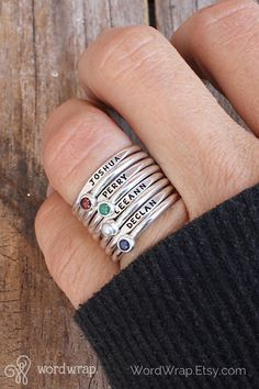 Personalize your sterling silver stackable name rings and add a pop of color with genuine gemstones. Click through to customize your mothers ring set. Stackable Name Rings, Jewelry Quotes, Wrap, Engagement Ring Settings, Diamond Wedding Bands, Diamond Rings, Birthstones, Silver Rings, Silver Jewelry