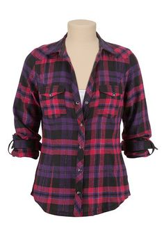 Flannel Plaid Shirt with Lurex (original price, $29) available at #Maurices