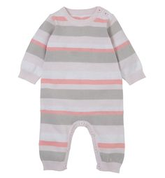 Mothercare Pink Stripe Knitted All In One