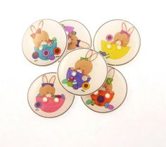 Easter Buttons. 6 Handmade Buttons. Easter Bunny by buttonsbyrobin, $9.99