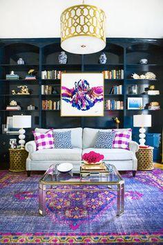 Hague Blue Built Ins // Trellis Drum Shade // Abstract Artwork // Purple Area Rug